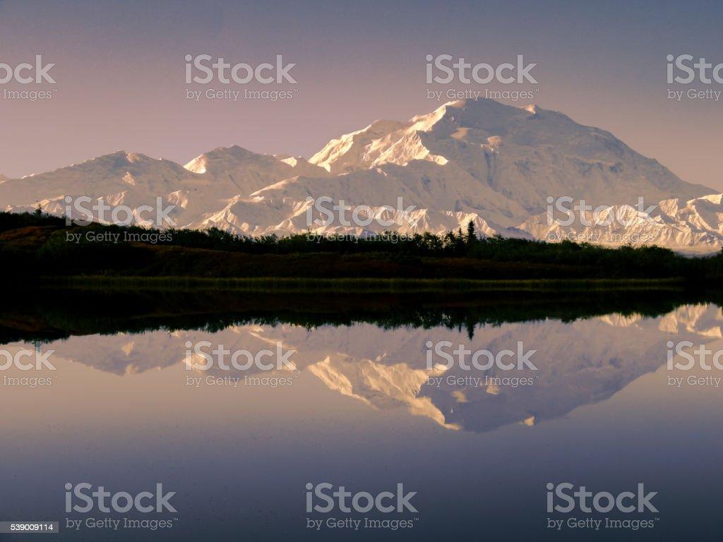 Denali (Mount McKinley) in Reflection Pond at Dawn stock photo