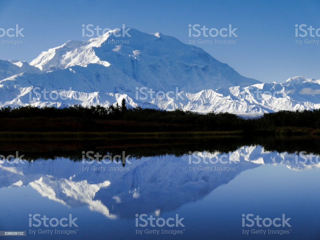Denali (Mount McKinley) in Reflection Pond in Early Morning stock photo