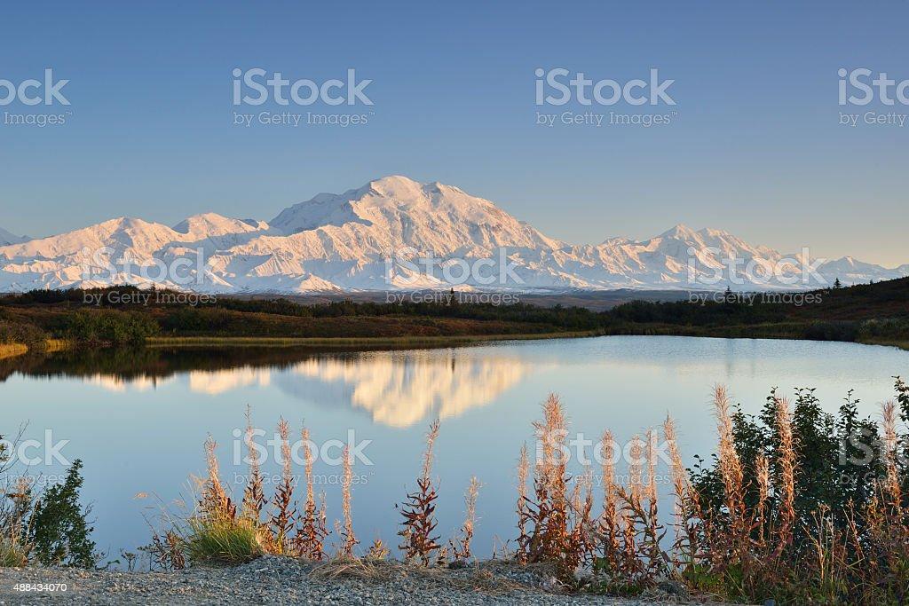 Denali Mountain and Reflection Pond stock photo