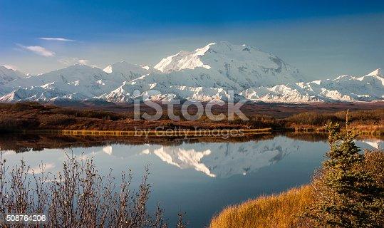 Denali Mountain in Fall Reflected in Wonder Lake