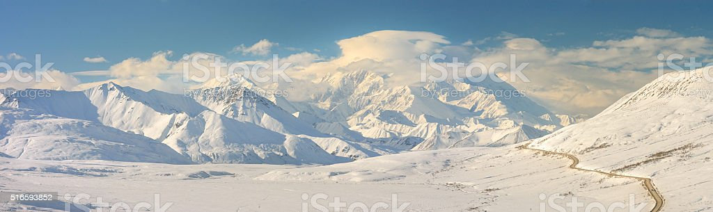 Denali Mountain Panorama in Winter With Road stock photo