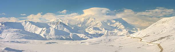 panorama de denali montanha no inverno com estrada - tundra imagens e fotografias de stock