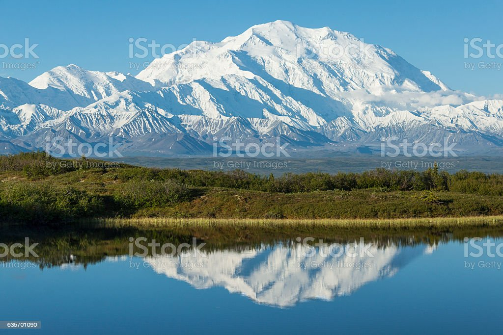 Denali reflected in a kettle pond, Denali National Park, Alaska. stock photo