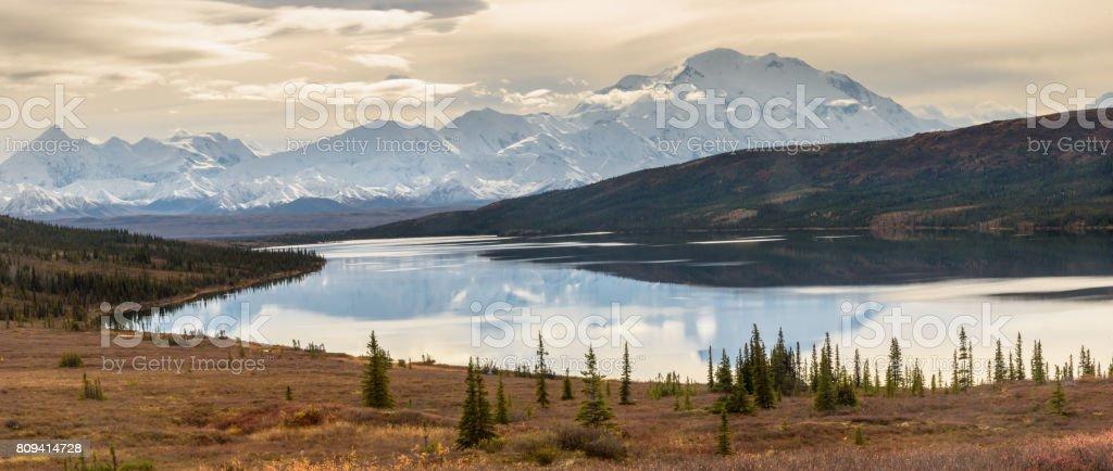Denali Wonder Lake Panorama in Autumn stock photo