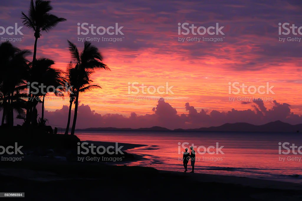 Denarau Island Fiji Sunset stock photo