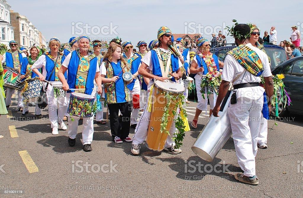 Dende Nation samba drummers, Hastings stock photo