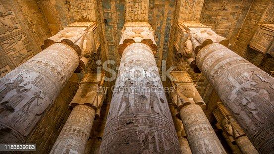 Columns inside the Dendera's temple