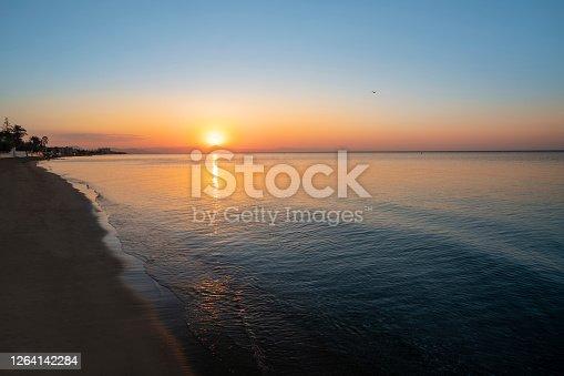 Denia beach Las Marinas  golden sunet in Alicante Mediterranean of Spain at Bassetes area