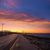 Denia sunset in Alicante of Mediterranean Spain