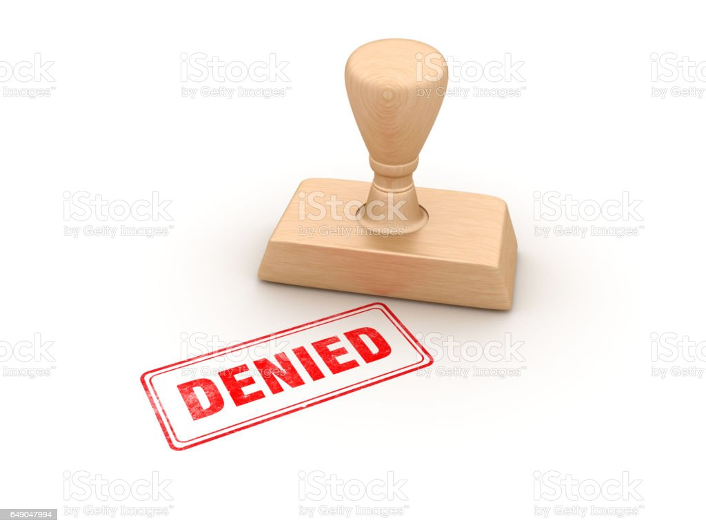 Denied Rubber Stamp - 3D Rendering stock photo