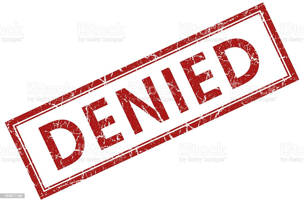 denied square red stamp stock photo