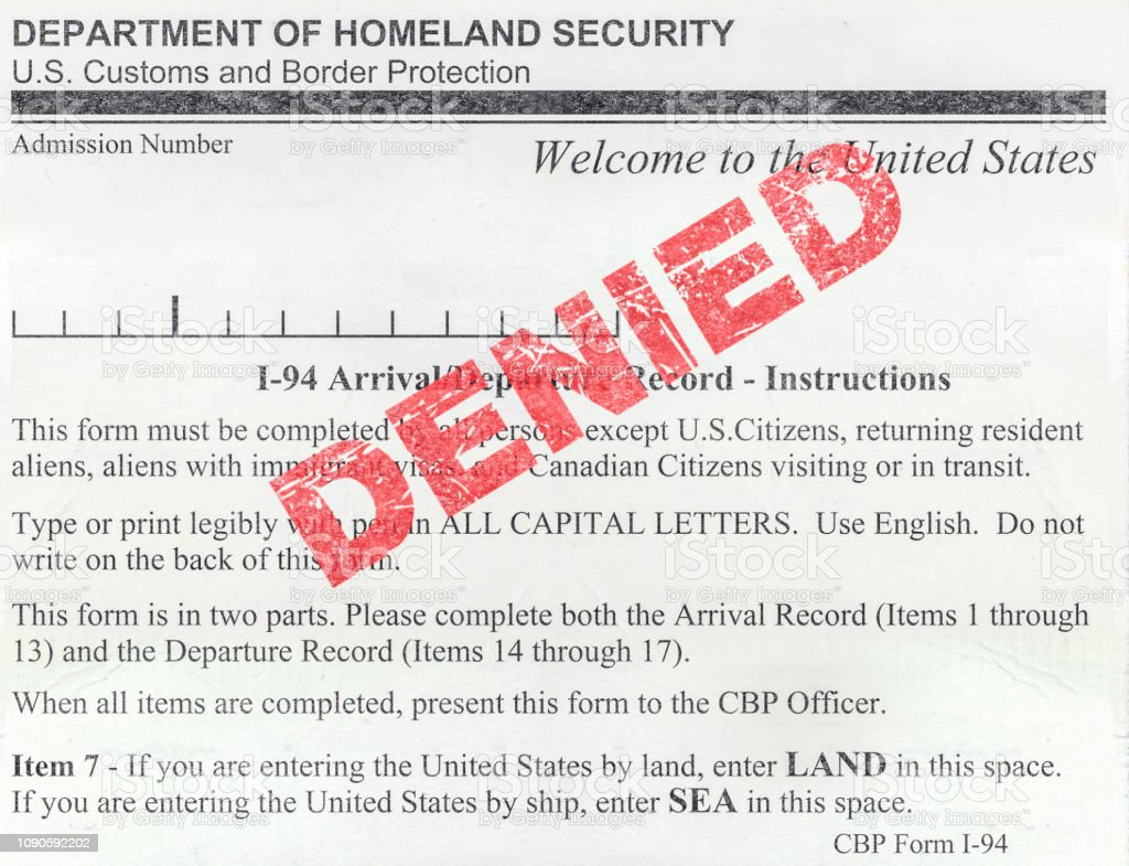i 94 form application  Denied Us Immigration Form Stock Photo - Download Image Now ...