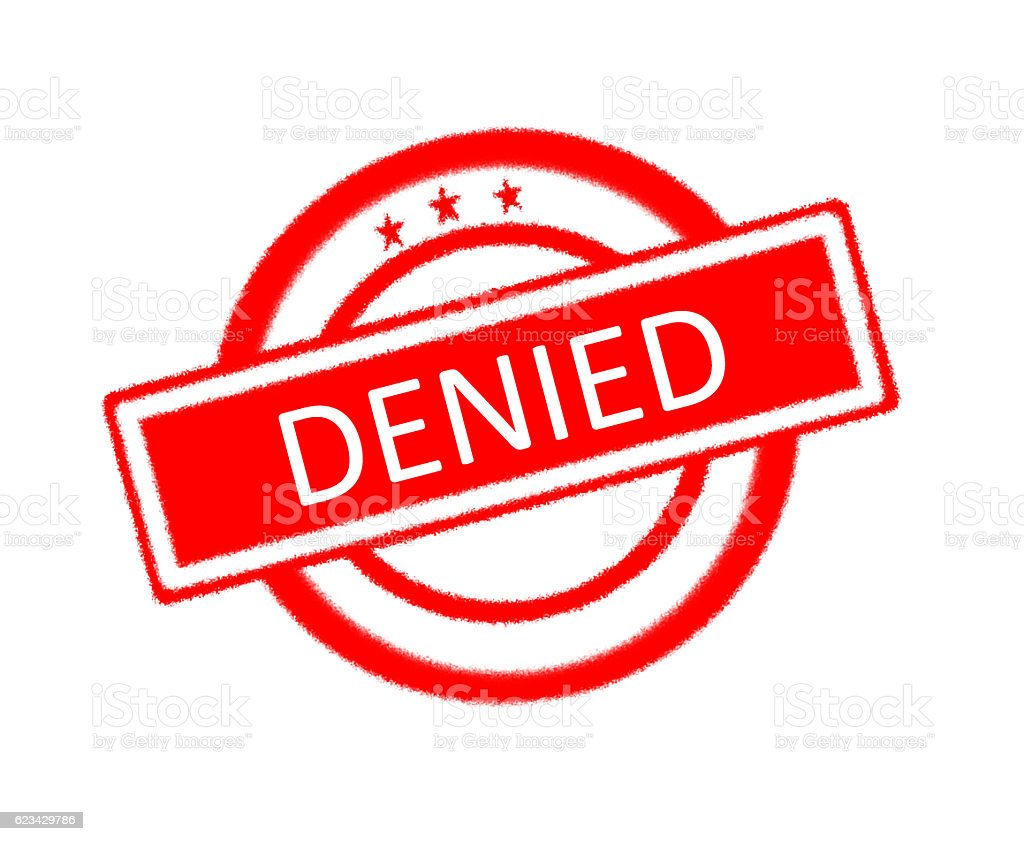 Denied word on rubber stamp stock photo