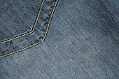 Denim abstract stitched background with pocket, blue jeans texture with copy space for text