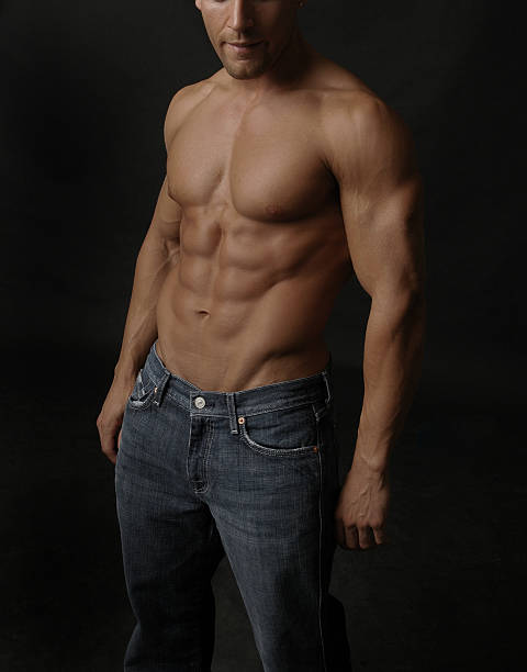 Denim and a six pack stock photo