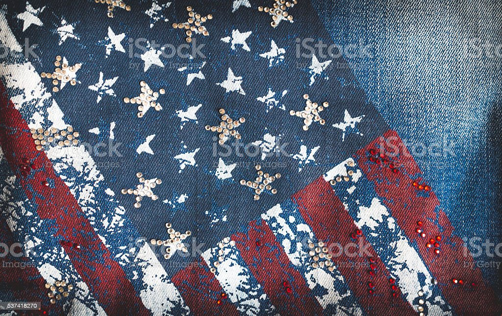 Denim and American flag stock photo