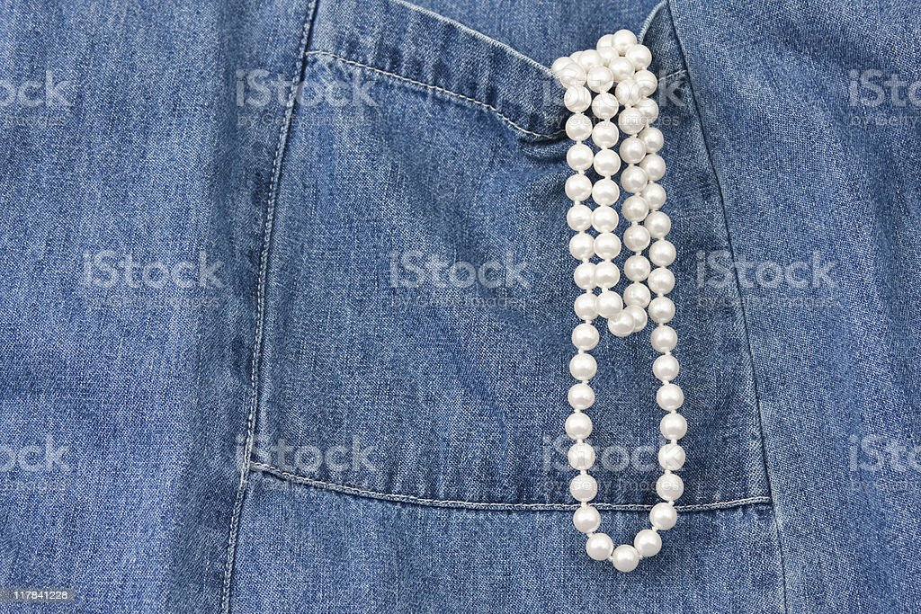 Denim and Pearls royalty-free stock photo