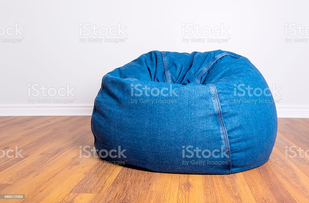 Denim Beanbag Resting stock photo