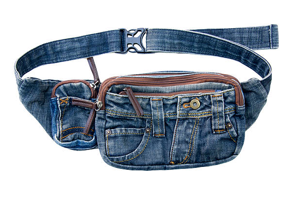 denim belt bag, waist pouch isolated on white background - waist bag stock photos and pictures