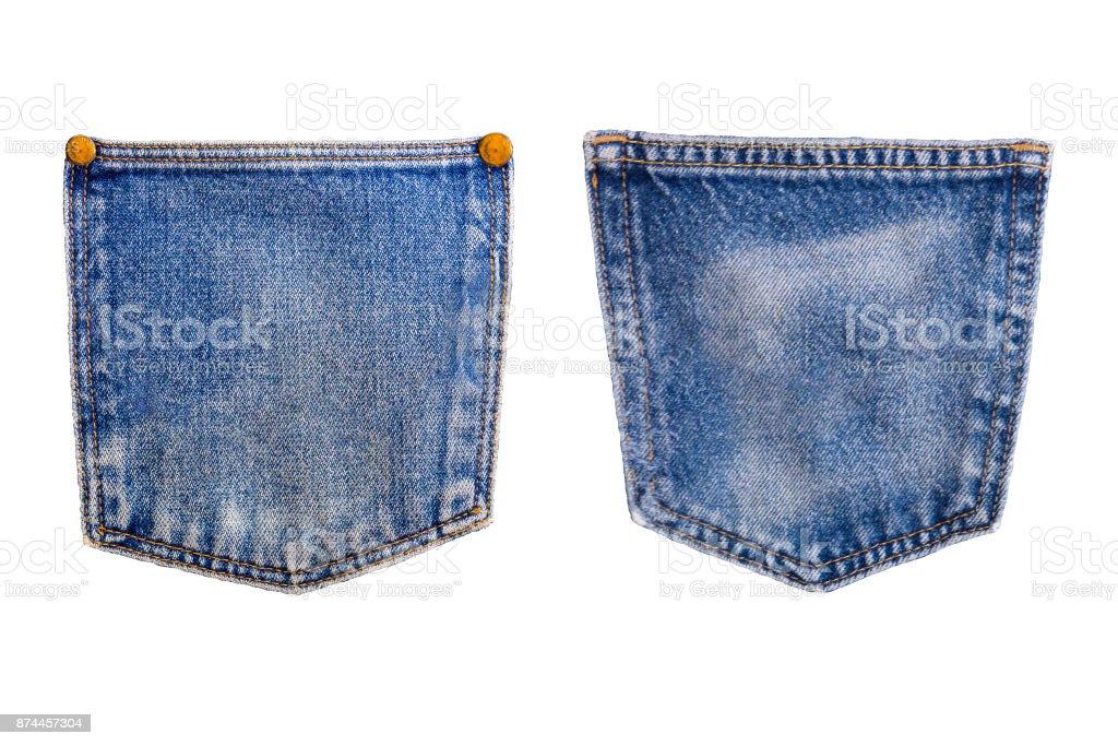 denim blue jean pocket texture is the classic indigo fashion. Denim blue jeans pocket isolated on white background stock photo