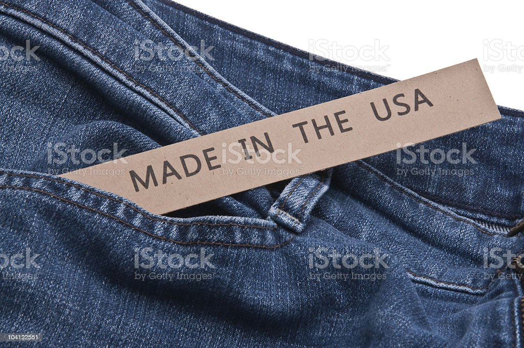 Denim Blue Jeans Made in the USA stock photo