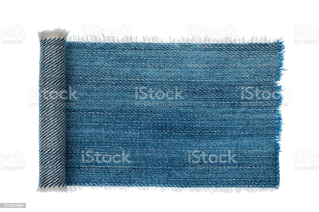Denim frame folded in the form of manuscripts,scroll isolated stock photo