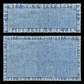 Denim frames background textured isolated on black.