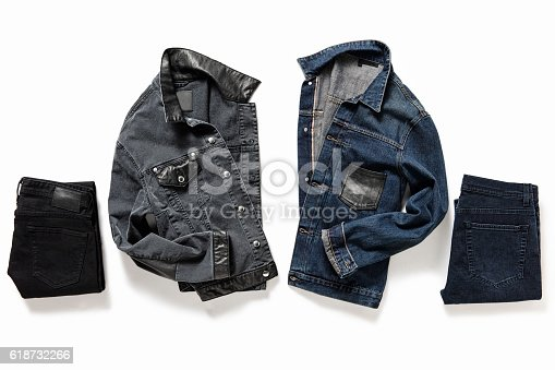 Denim jackets and pants isolated on white background( with clipping path)