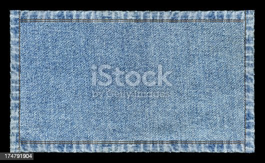 Denim Jeans banner textured background isolated on black