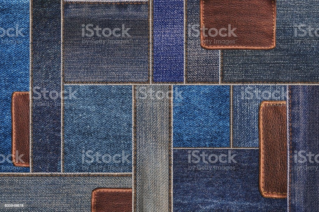 Denim jeans with leather texture, patchwork denim jean with leather stock photo