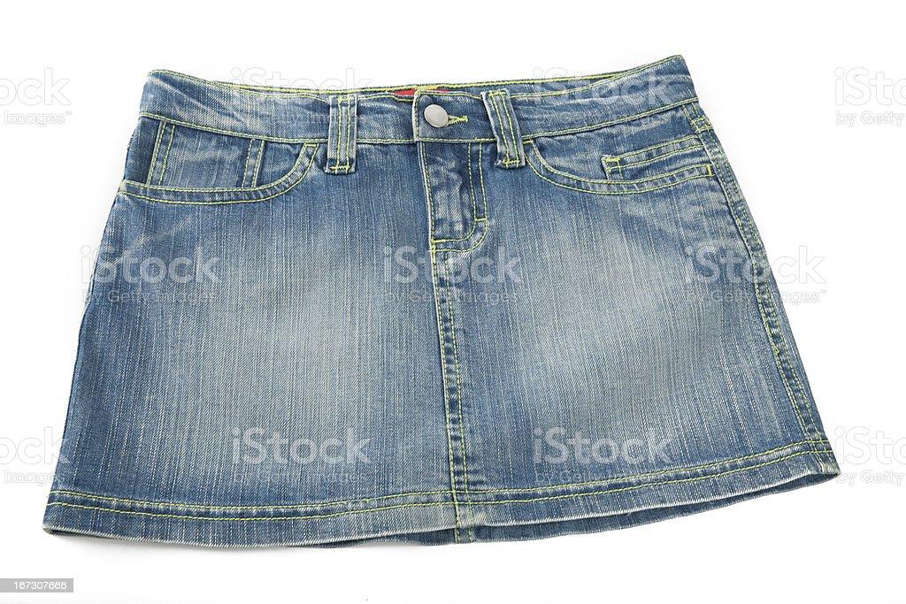 denim mini skirt stock photo