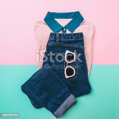 640200626istockphoto denim, pink sunglasses and shirt 640200752