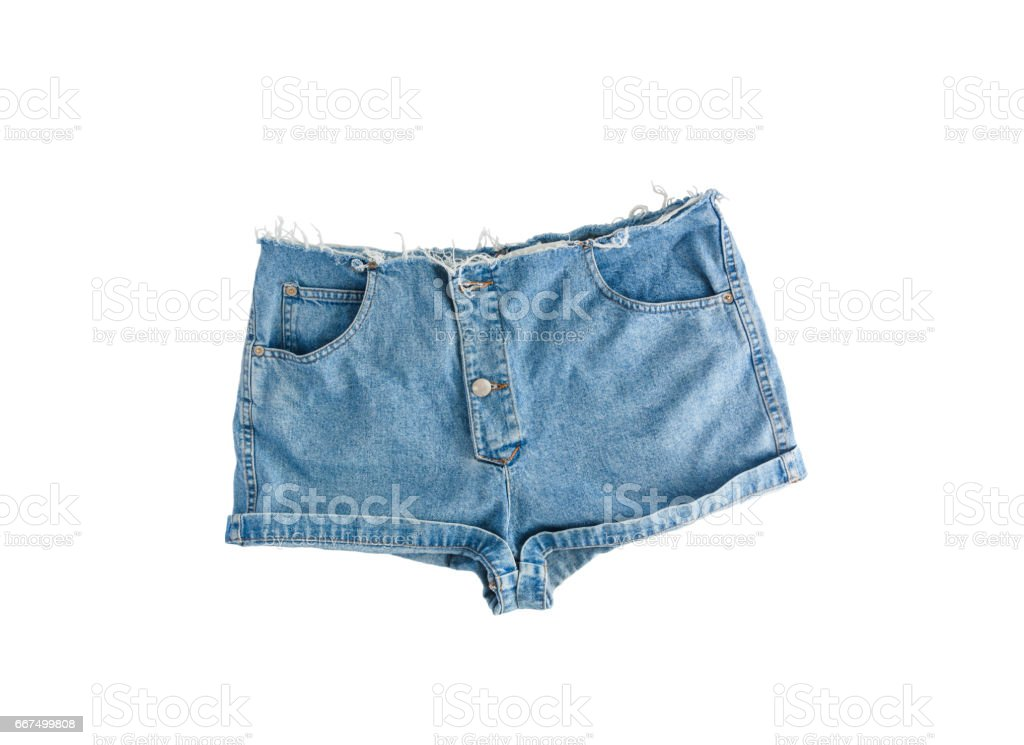 Denim short shorts with torn edge, isolated on white background foto stock royalty-free