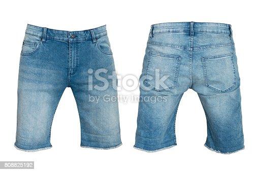 denim shorts for men isolated on white