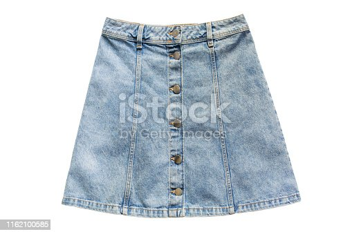 Blue denim mini skirt with buttons on white background