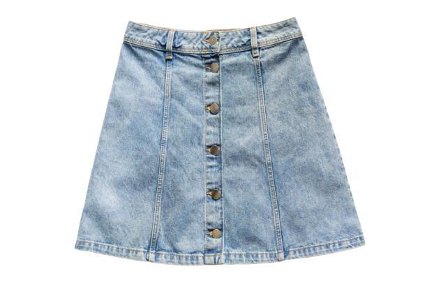 denim skirt isolated - spódnica zdjęcia i obrazy z banku zdjęć