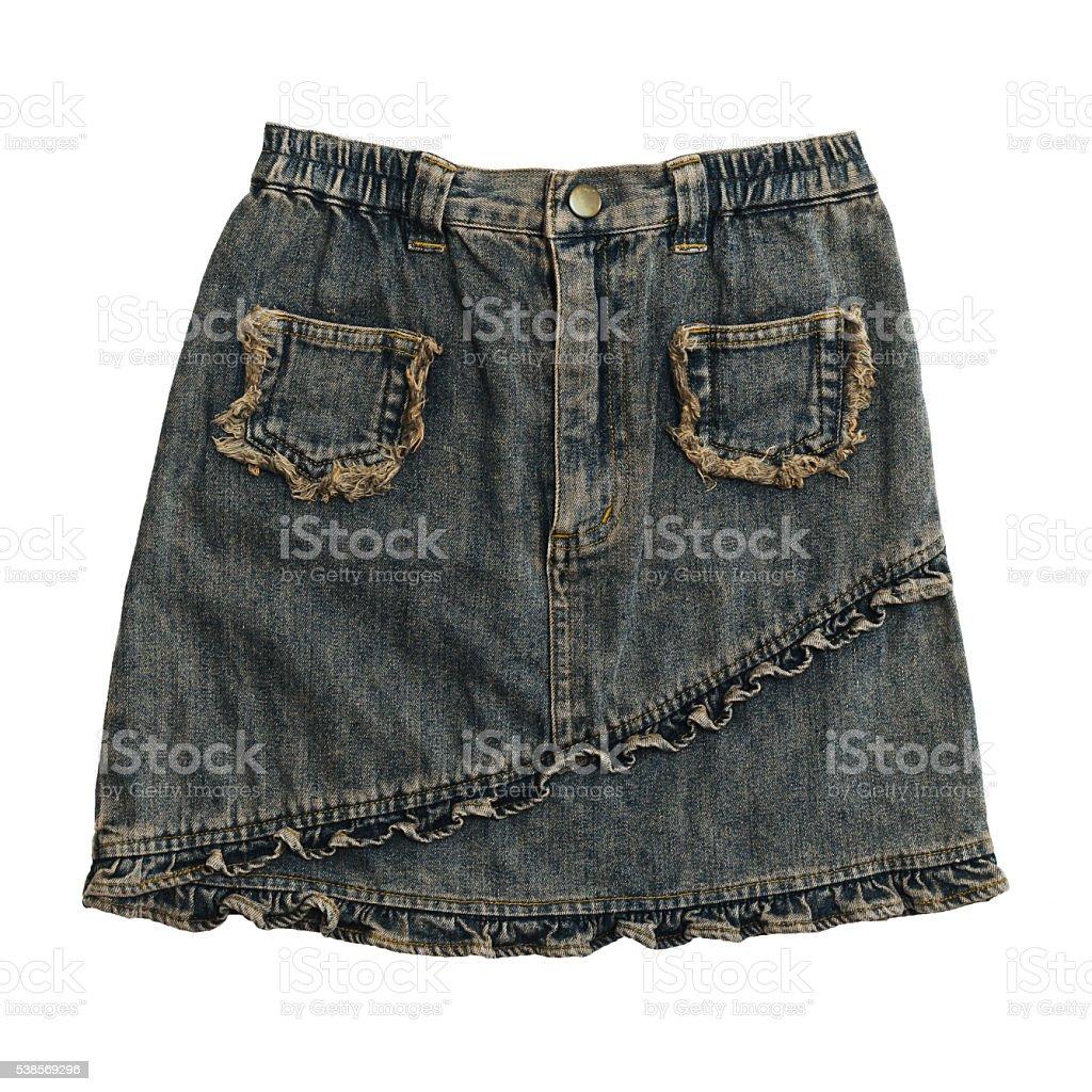 Denim skirt on white stock photo