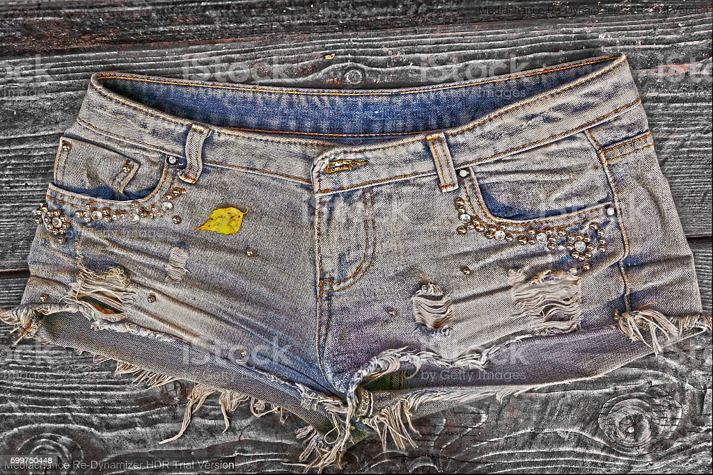 denim stylish shorts close up photo stock photo