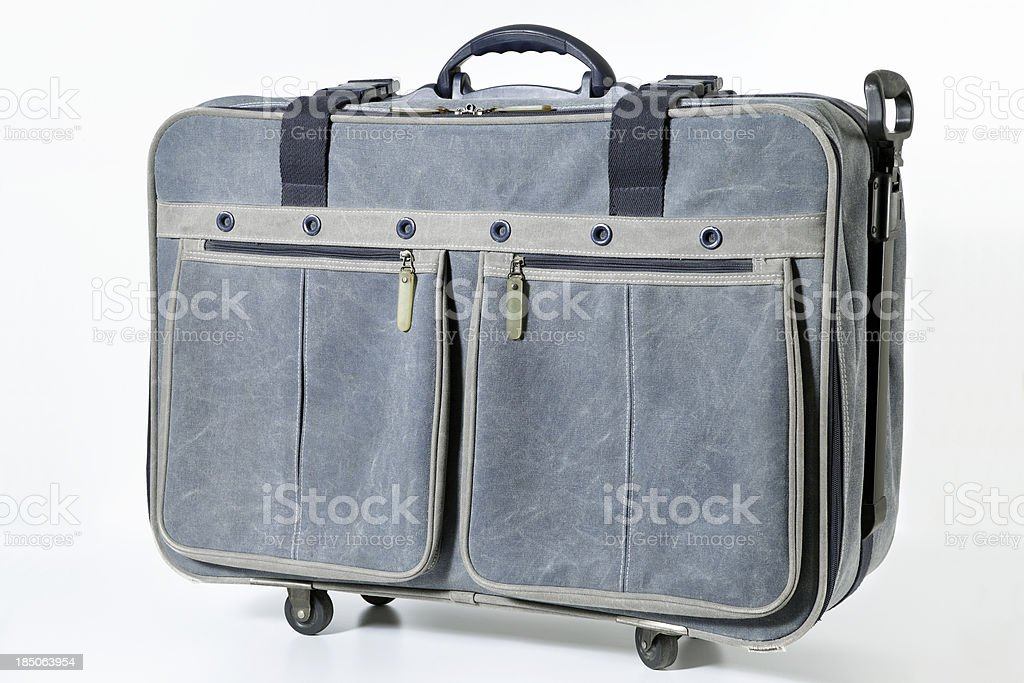 denim suitcase stock photo