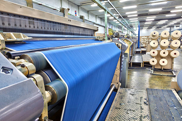 denim textile industry - big weaving room, hdr - textile stock photos and pictures