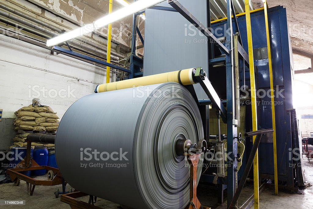 Denim Textile Industry - Finishing Machine for Jeans stock photo