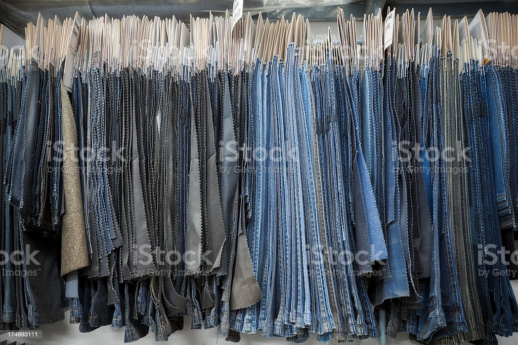 Denim Textile Industry - Jeans Fabric Swatches and Samples royalty-free stock photo