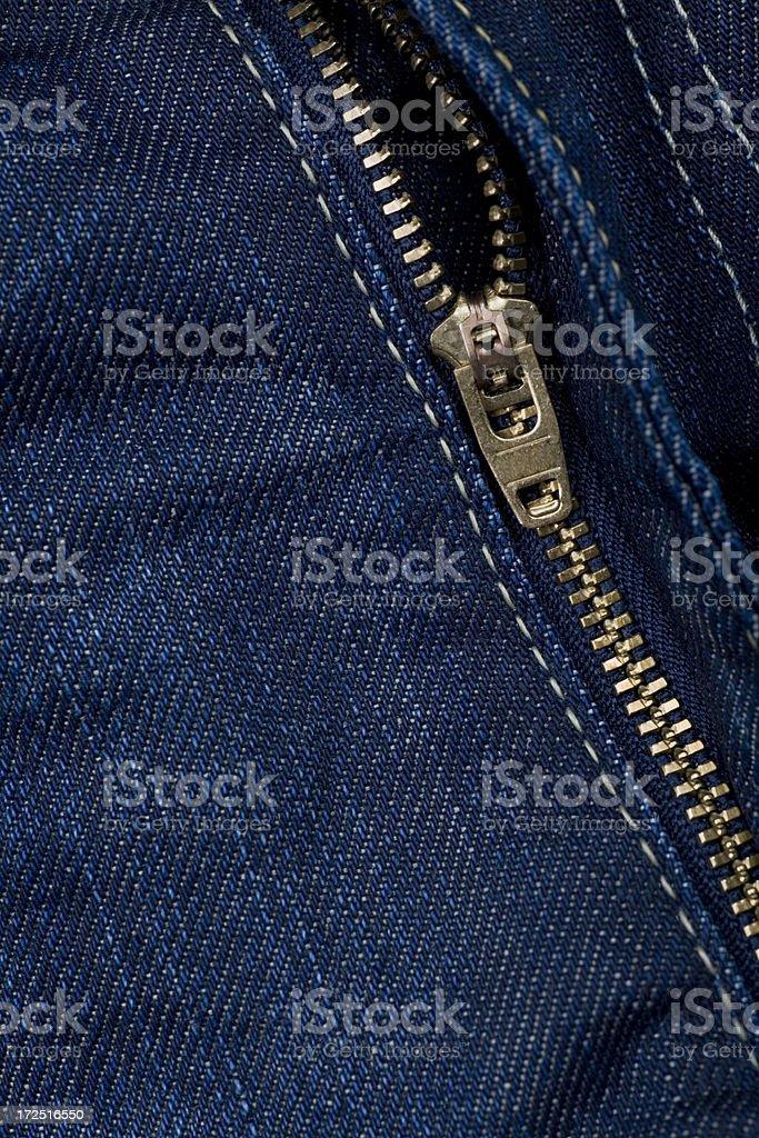 Denim zipper royalty-free stock photo