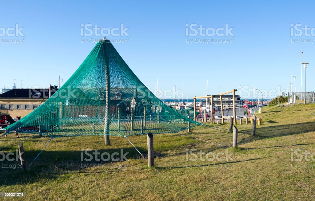 Denmark: Beautiful playground at the harborside of Vesteroe Havn stock photo