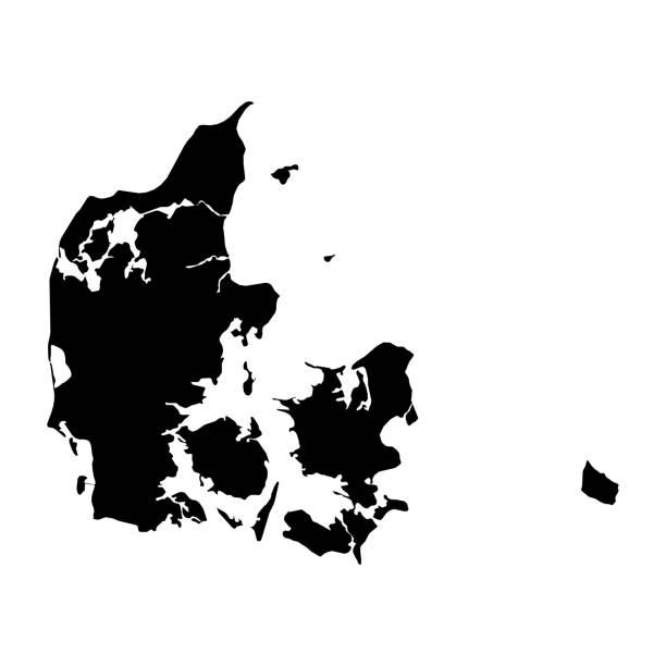 Denmark Black Silhouette Map Outline Isolated on White 3D Illustration stock photo