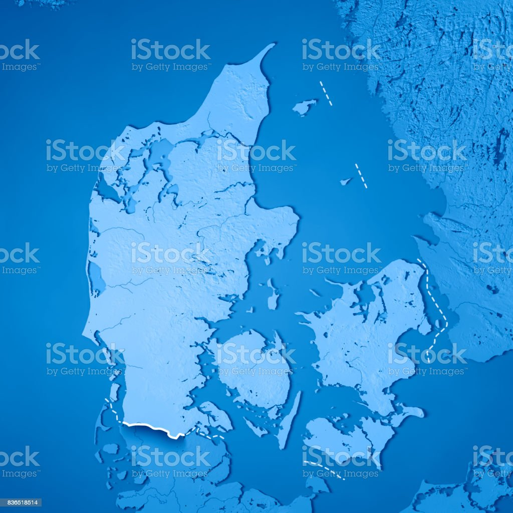 Denmark Topographic Map.Denmark Country 3d Render Topographic Map Blue Border Stock Photo