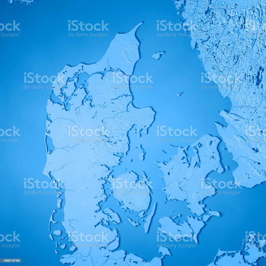 Denmark Topographic Map.Denmark Country 3d Render Topographic Map Blue Stock Photo Istock
