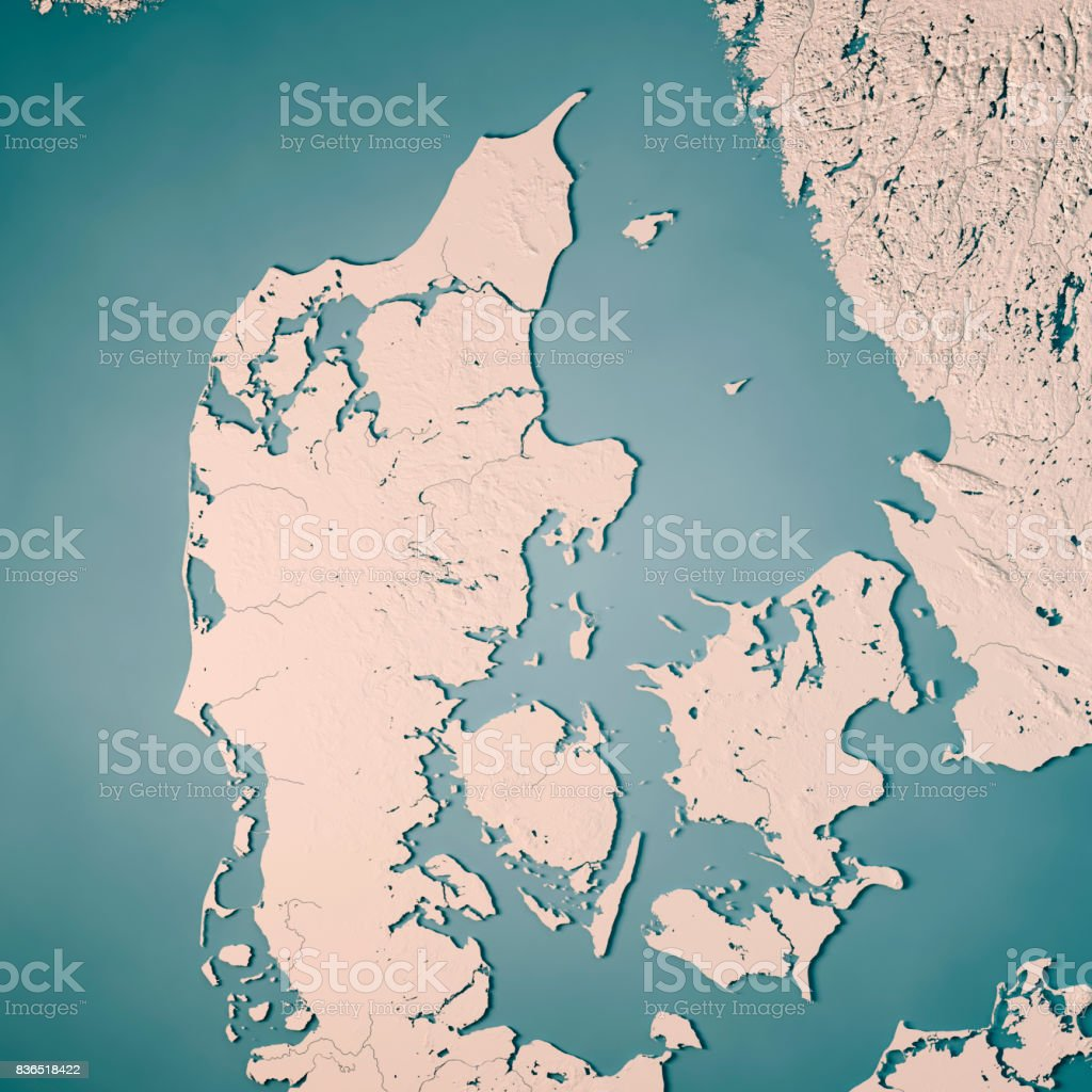 Denmark Country 3d Render Topographic Map Neutral Stock Photo More