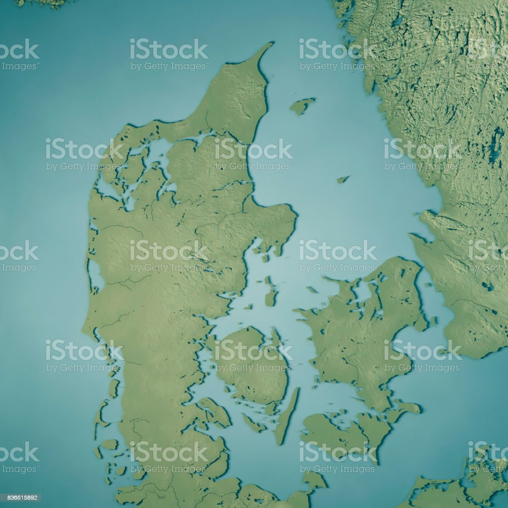 Denmark Topographic Map.Denmark Country 3d Render Topographic Map Stock Photo More