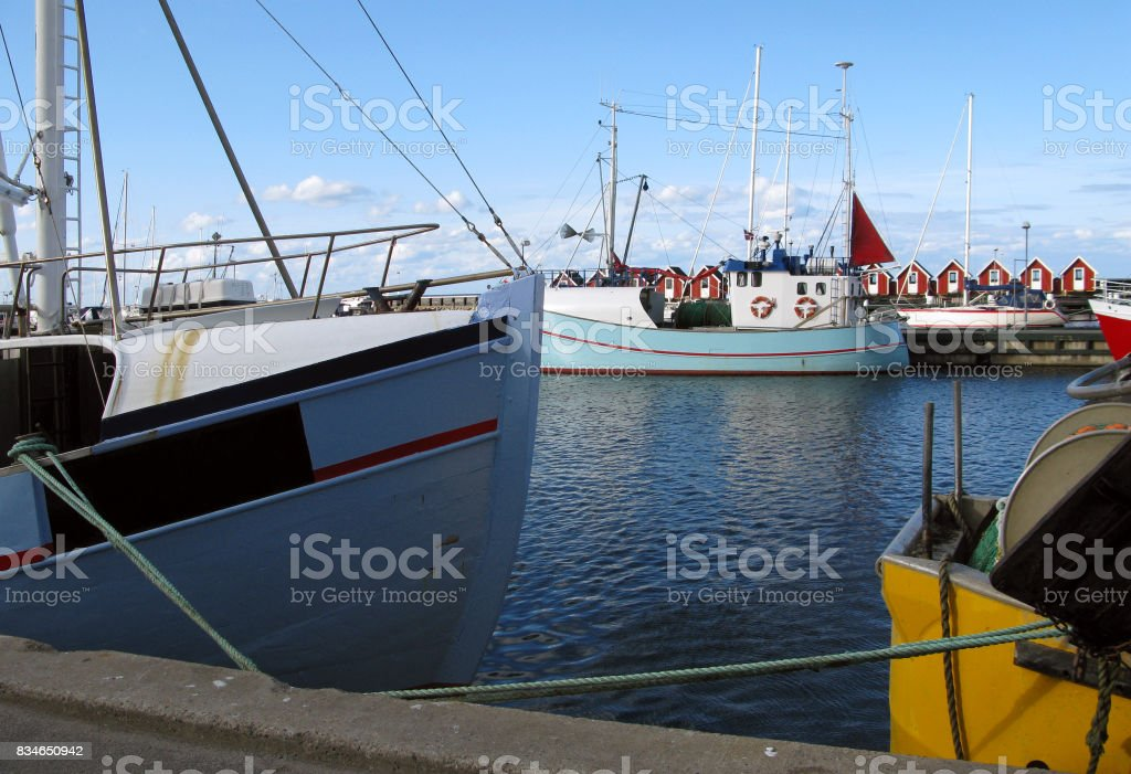 Denmark: Fishing cutters moored in a small fishing port in North Jutland stock photo